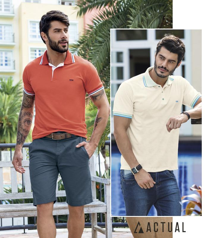 54c746799 Actual Moda masculina camisa polo - Mundo Quatro Estações