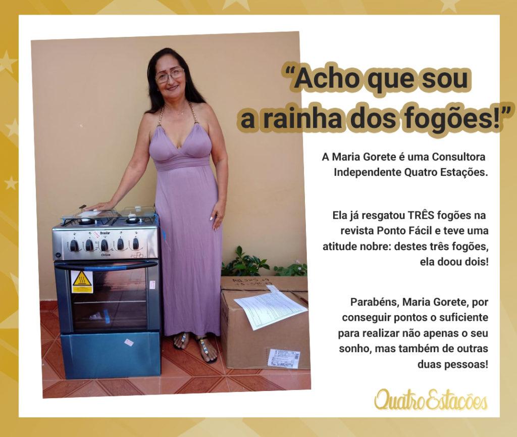 Maria Gorete, consultora independente Quatro Estações com o fogão em inox resgatado na revista Ponto Fácil.