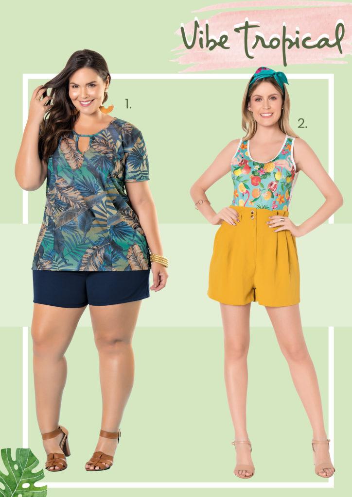 Modelo plus size vestindo short azul marinho e blusa com estampa de folhagens. Modelo vestindo short amarelo e body com estampa de frutas.